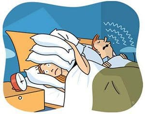 cartoon of a woman in bed who can't sleep because of a snoring partner