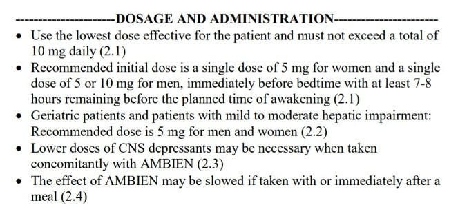 image showing the current ambien dosage label