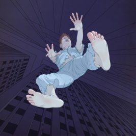cartoon of a man falling - one of the feelings associateed with a hypnic jerk