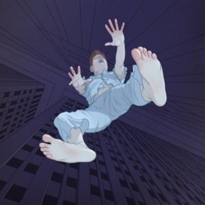 cartoon of someone experiencing the hypnic jerk falling experience