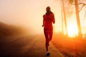 woman running at night