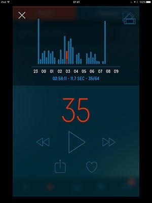 screenshot of the sleep talk app data