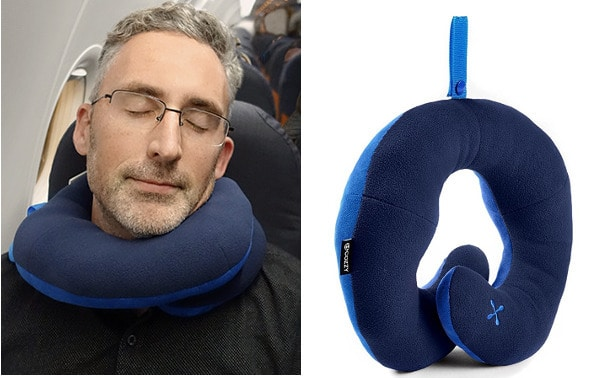 photo of me wearing the bcozzy travel pillow