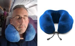 photo of me wearing the cabeau travel pillow