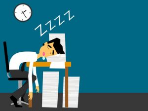 graphic of a man asleep at his desk