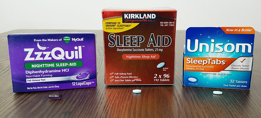 photo of 3 different over the counter sleep aids - kirkland, zzzquil and unisom