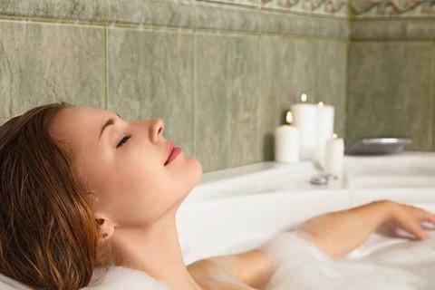 someone having a relaxing bath