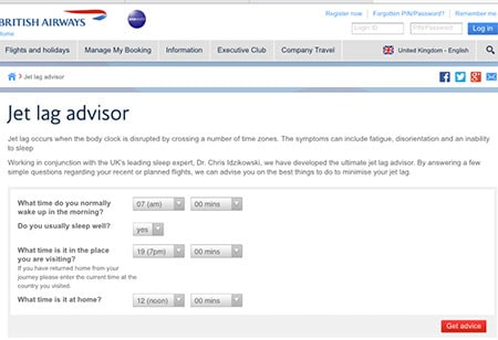 screenshot of the british airways jetlag calculator