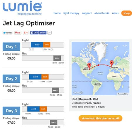 photo of a lumie jet lag plan from chicago to paris