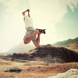 man jumping in a dream