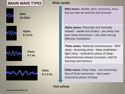 diagram showing the different stages of sleep and the associated brainwaves