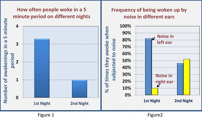 diagram showing the results of research into sleep quality in a new place