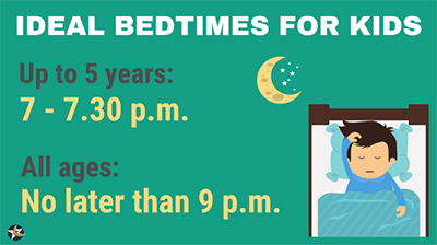 graphic of suggested kids bedtimes