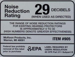 photo of an example noise reduction rating label with NRR 29