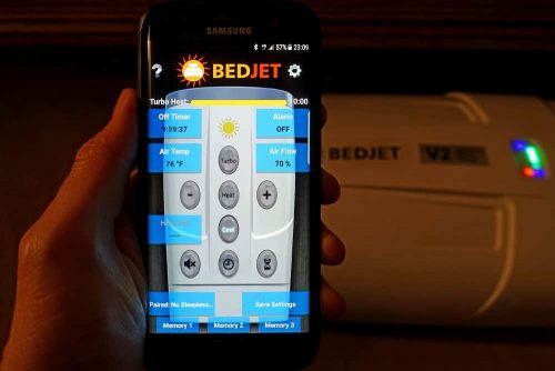 photo of my phone using the bedjet app