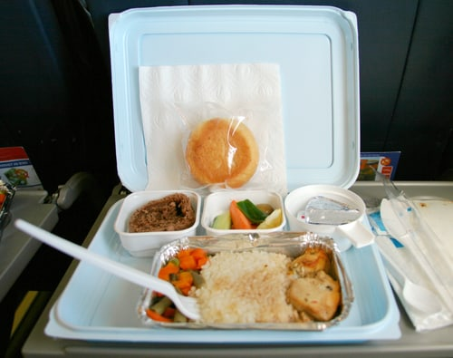photo of airplane dinner