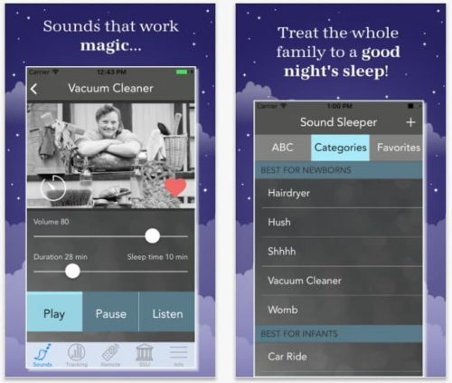 screenshot of the white noise baby app