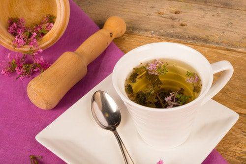 valerian tea freshly prepared with the flower