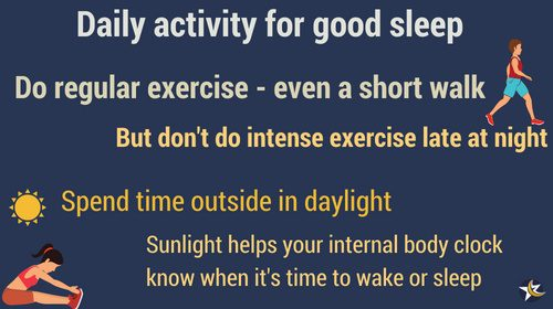 activities for sleep mini infographic