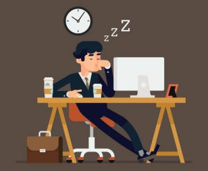 illustration of a man sleeping at work