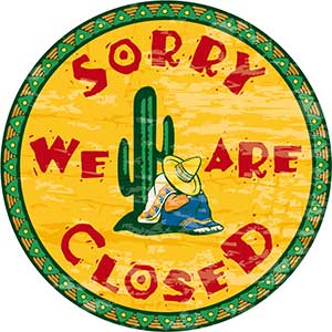 sign saying 'sorry we are closed'