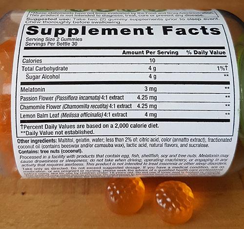 vitafusion sleepwell ingredients label