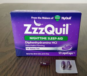 photo of zzzquil sleep aid box and pills