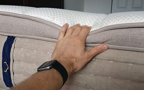 poto of me testing the dreamcloud mattress side supports