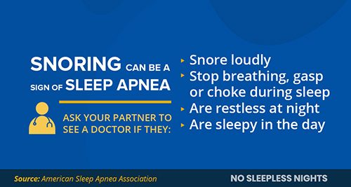 infographic with the symptoms of apnea to look for in a partner