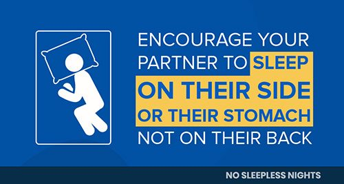 infographic saying snorers should sleep on their side or stomach, not their back