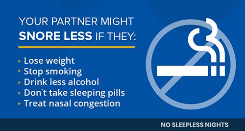 infographic showing snoring risk factors in a partner - smoking, alcohol, congestion, sleeping pills