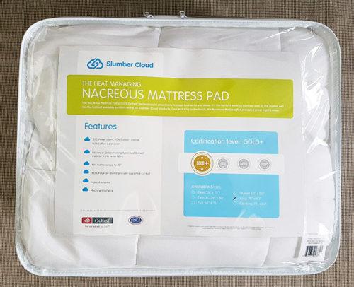 slumbercloud mattress pad in the original bag
