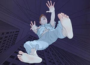 cartoon of a man having a falling sensation durning hypnic jerks