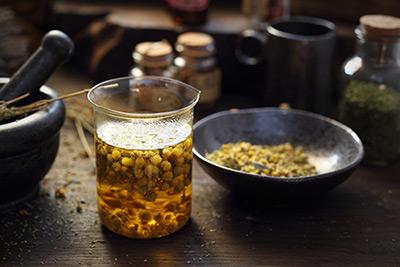 photo of chamomile tea preparation