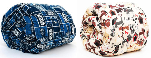 two mosaic kids weighted blankets - one with a star wars pattern and one with a dogs pattern