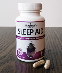 bottle of physician's choice sleep aid and two capsules