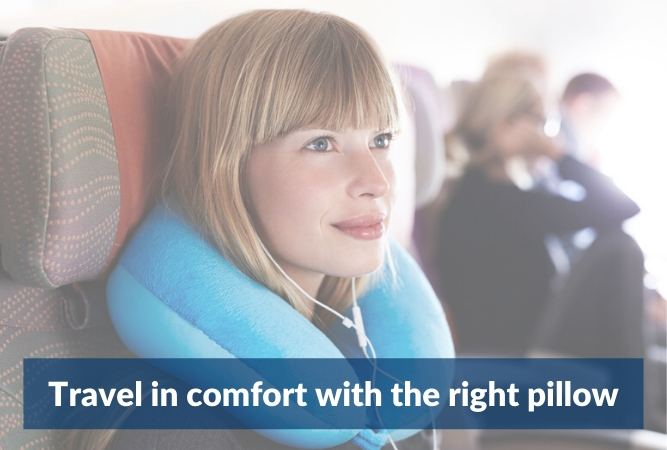 image of a woman sitting in a plane with the words 'travel in comfort with the right travel pillow'.