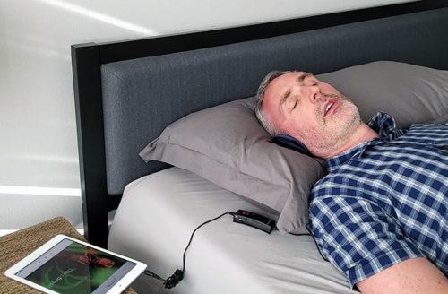 phot of ethan green using the pillow speaker
