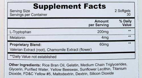ingredients section from the alteril box showing the supplement facts and other ingredients