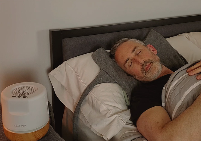 moona cooling pad being used in bed