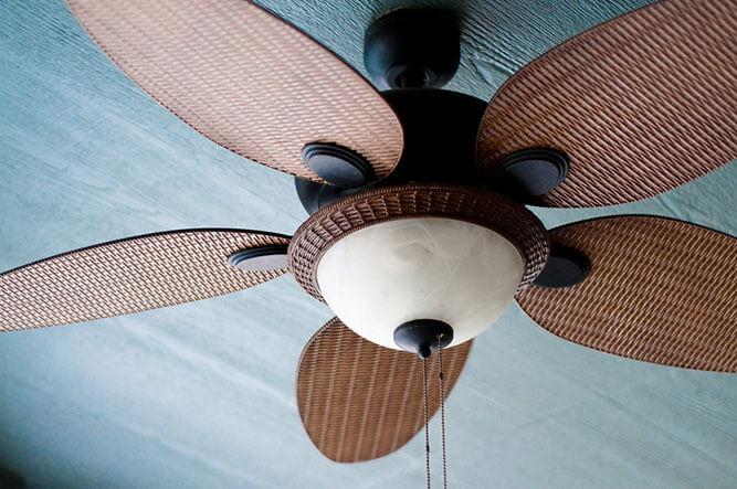 photo of a pretty wooden ceiling fan