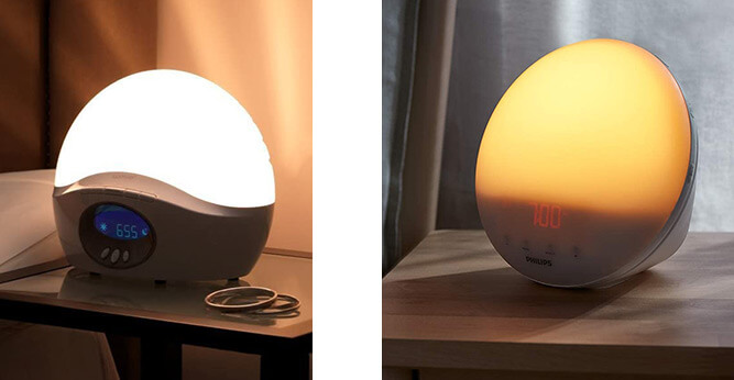 photo of two different wake up lights in two separate bedrooms