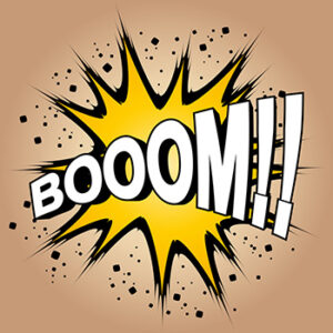 """cartoon of an explosion with the word """"boom!"""""""