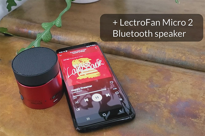 lectrofan micro 2 being used as a bluetooth speaker with a samsung galaxy s10 phone
