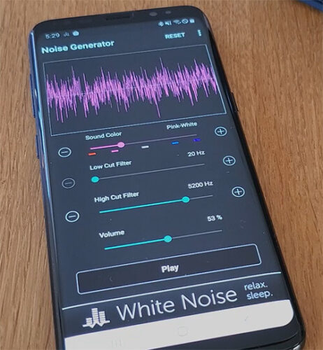 noise generator app used on a samsung phone