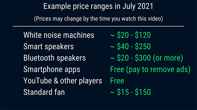 infographic showing the average prices of white noise machines versus smart speakers, bluetooth speakers, apps and fans