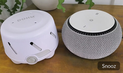 photo of the dohm uno and snooz white noise machines