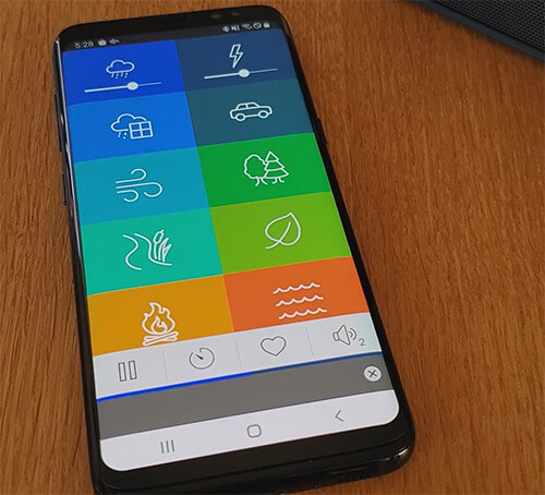 white noise generator app being used on a samsung phone