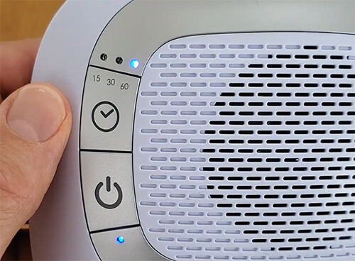 homedics sound spa auto off timer button and blue LED