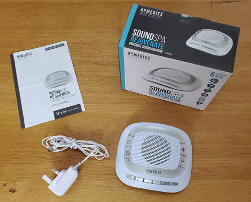 photo of the homedics sound spa rejuvenate with the box, power adaptor and instruction manual